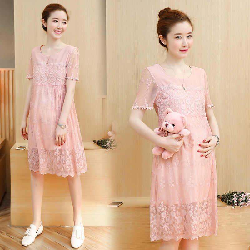 0c496e2e61a 2018 новые модные летние платье для беременных Новый корейский вариант  свободные сладкий беременных женщин платья Кружева