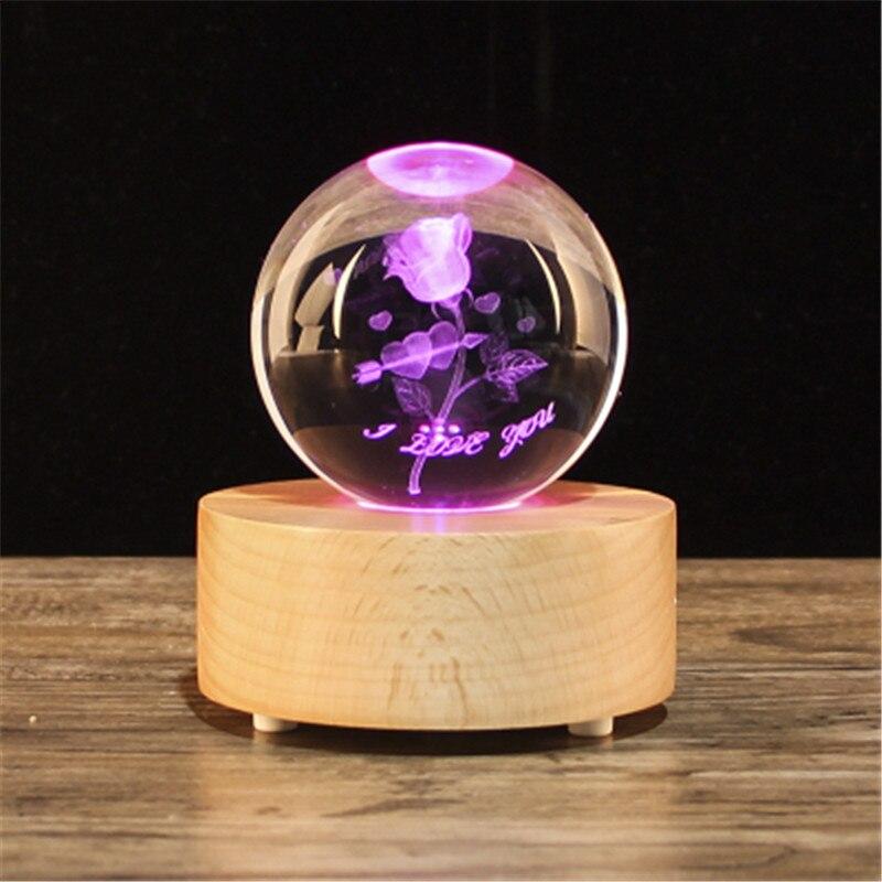 Boîte à musique de boule de cristal de Globe de neige de cadeau de noël, haut-parleur en bois de Bluetooth