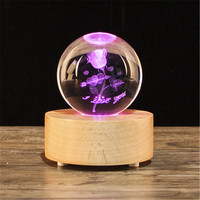 Christmas Gift Snow Globe Crystal ball music box, wooden Bluetooth speaker