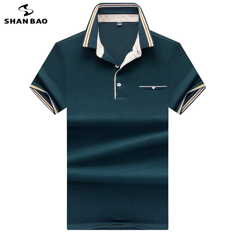 2019 summer fashion striped color matching lapel cotton short-sleeved   Polo   shirt British style business casual men's   polo   shirt