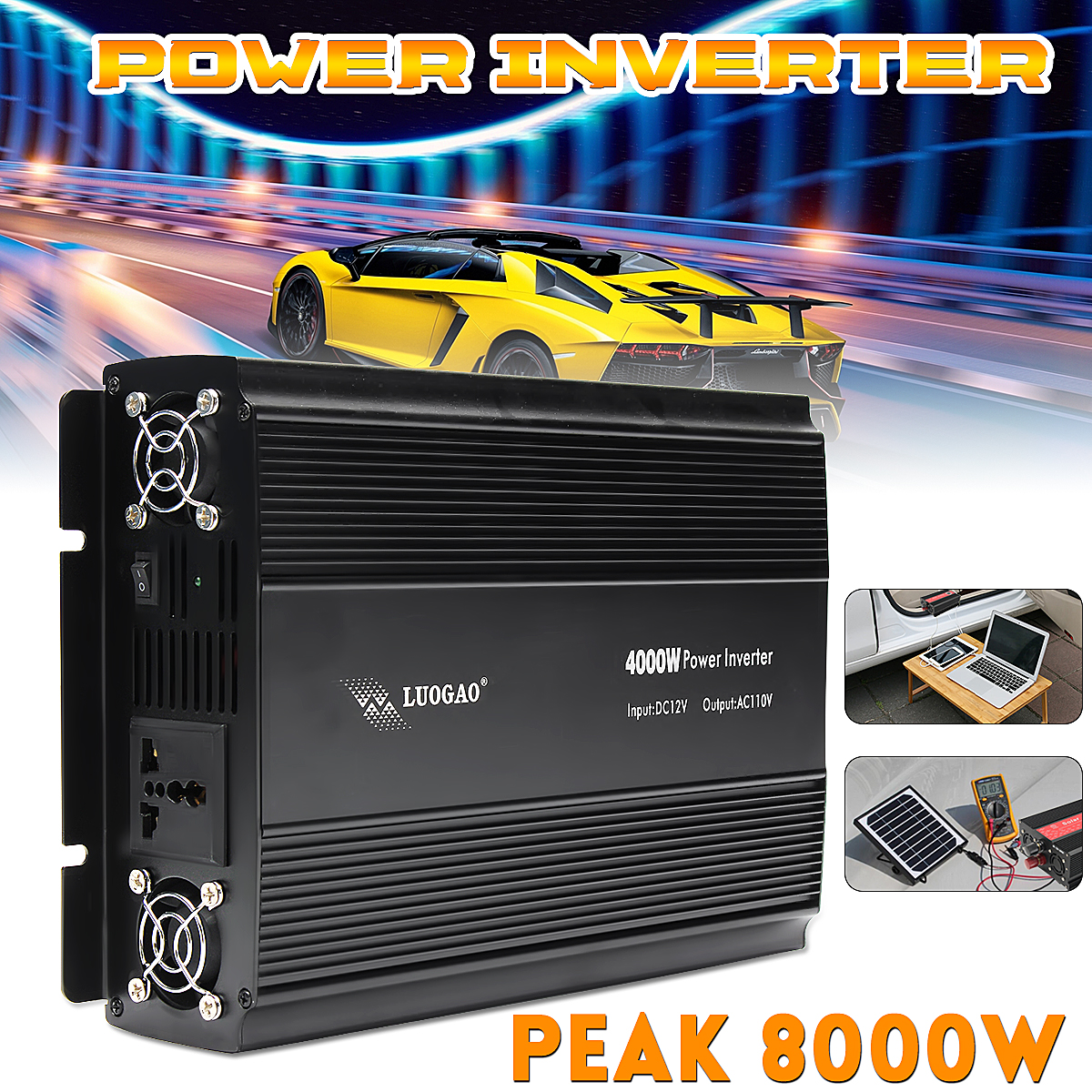 Car Inverter 12V 220V/110V 4000W Power Inverter Peak 8000W voltage transformer Adapter Charger Square Wave Modified Sine Wave