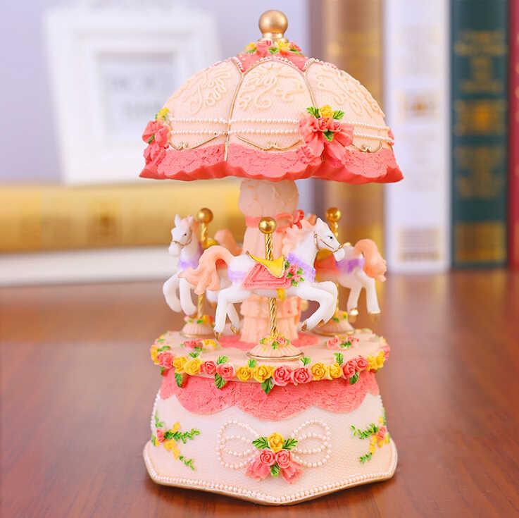 Flashing LED Light Resin Carousel Music Box Kids Girls Valentine's Day Birthday Christmas Gift Toy Wedding Home Decor