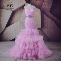 Long Prom Dresses 2018 Hot Pink Newest Coming Sweetheart Crystals Mermaid Dresses Long Evening Gowns Lace up Pleats Sexy