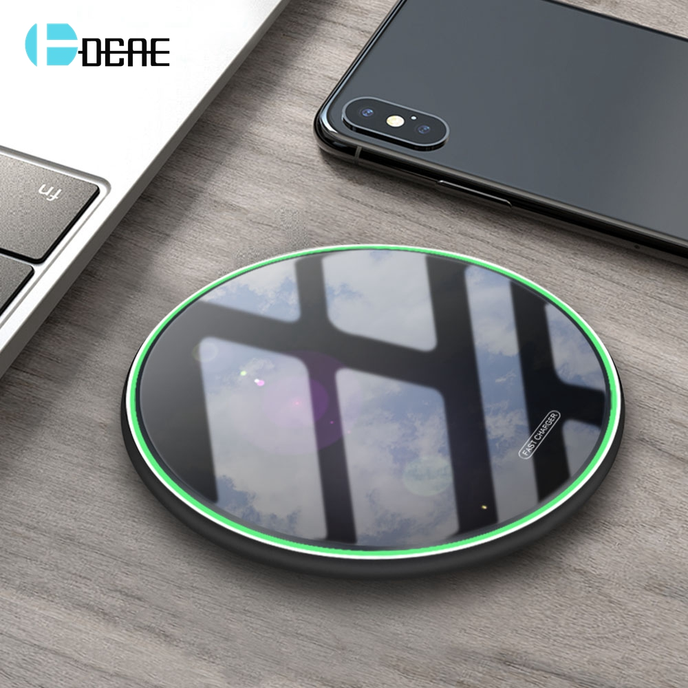 FDGAO 10W Qi Wireless Charger For iPhone 11 Pro X XS XR 8 Fast Charging Dock for Samsung S8 S9 S10 Note 9 8 USB Phone Charge Pad-in Mobile Phone Chargers from Cellphones & Telecommunications on