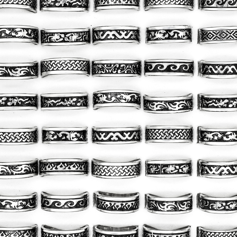 24 Pcs Hot Sale Retro Style Punk Bump Cross Stainless Steel Rings For Women Men Fashion WholeSale Jewelry Bulks Lots-in Rings from Jewelry & Accessories