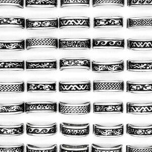 Image 1 - 24 pcs 여성을위한 뜨거운 판매 복고풍 스타일 펑크 범프 크로스 스테인레스 스틸 반지 남성 패션 도매 보석 대량