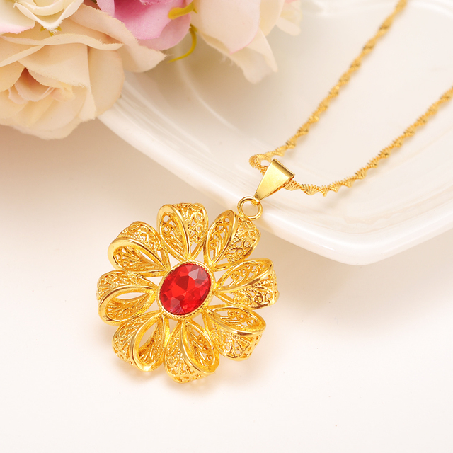 African ethiopia large red flower zircon pendant necklace gold color african ethiopia large red flower zircon pendant necklace gold color twisted chain for women party aloadofball Gallery