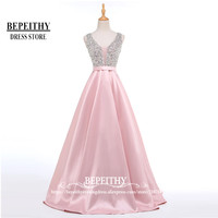 Charming V Neck Beads Bodice Open Back A Line Long Evening Dress Party Elegant Vestido De