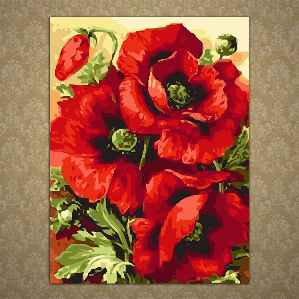 Diy beautiful red poppy flower oil painting by numbers acrylic diy beautiful red poppy flower oil painting by numbers acrylic drawing on canvas home office decor wall picture decoration c42 in painting calligraphy mightylinksfo