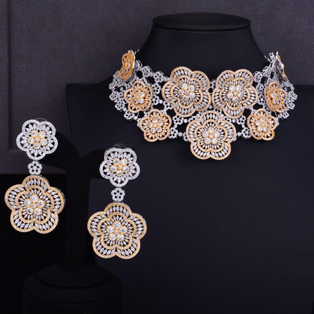 GODKI Super Luxury Floral Flower Women Wedding Cubic Zirconia Choker Necklace Earring Dubai Jewelry Set Jewellery