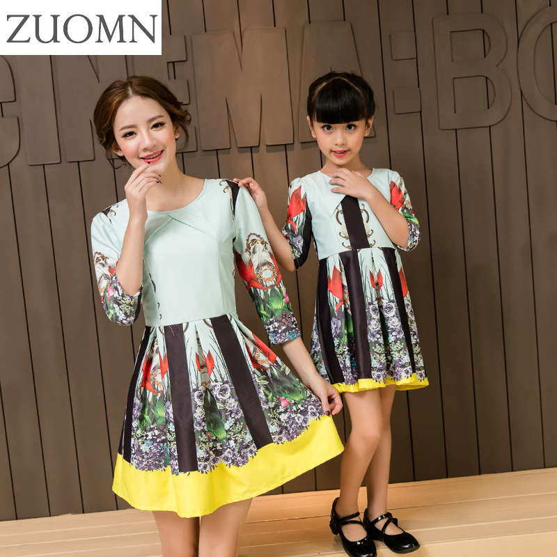 New Year Mother Daughter Dresses Cute Family Matching Outfits Look Mom And Daughter Baby Girls Dress Half Kids Clothing GH276 2016 spring family fashion clothing half sleeve elegant floral print dress clothes for mother and daughter baby girls dresses