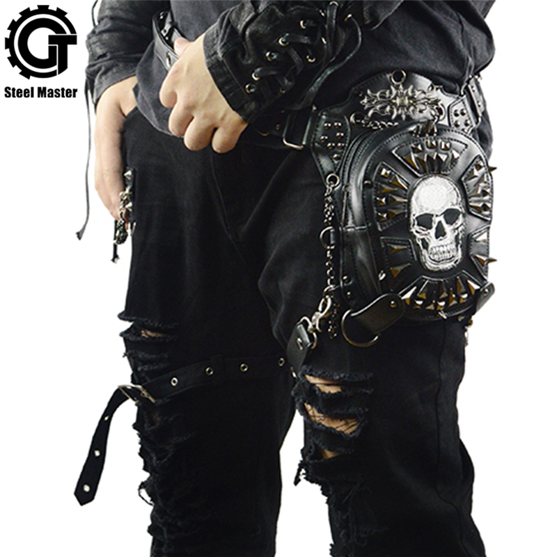 70879632b1b7c Gothic Steampunk Schädel Tasche 2018 Frauen Umhängetasche Leder Niet Taille  Bein Taschen Mode Retro Rock Motorrad