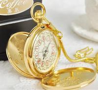 New Arrive Men Women Vintage Watch Antique Automatic Mechanical Gold Color Pocket Watches Necklace