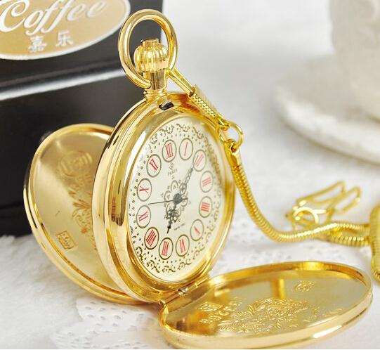 New Arrive men women vintage watch antique automatic mechanical gold color pocket watches necklace цена и фото