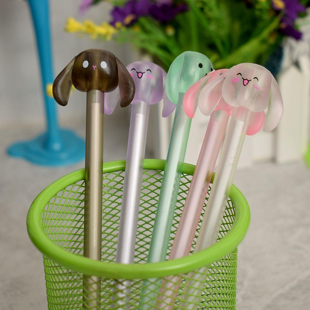 Cute Happy Long Ears Animal Gel Pen 0.5mm Black Ink Marker Pen Gift For Kids Student School Office Supply