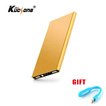 KuChong 12000 mAh Power Bank Portable Charger + led light Backup Power 2 USB External Battery Charger for Phone Fast Shipping
