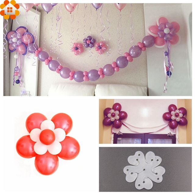 10PCS 6.5cm Useful Flower Shape Balloons Sealing Clip Ballon Buttons Clips Wedding/Birthday/Christmas Party Decoration Supplies