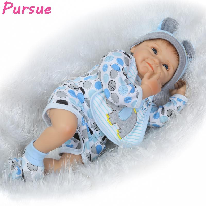 """Buy Pursue 22""""/55cm Realistic Newborn Reborn Baby Dolls Boys Soft Silicone Lifelike Baby Dolls Sale reborn menino 55(Blue Eyes)"""