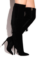 Для женщин Мода Дизайн острый носок черная замша кожаные сапоги выше колена Ленточки Сапоги и ботинки для девочек длинной бахромой тонкий к