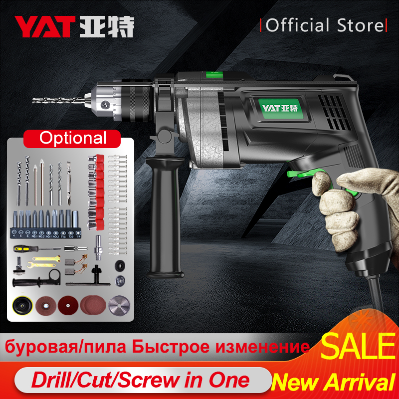 YAT Electric Impact Drill 220V Electric Rotary Hammer 650W Power Electric Screwdriver Perforator Variable-Speed Power Drill