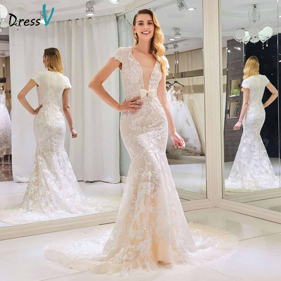 Lace Wedding Dresses With Cap Sleeves: Aliexpress.com : Buy Dressv Wedding Dress Mermaid Cap