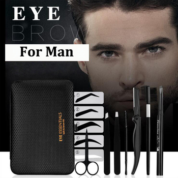 8 in 1 man Eyebrow Trimming Kit ,   Portable Tweezer and Scissor Set for Eyebrow Grooming Eyebrow Care Kit for Men Women