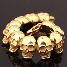 8.66″ *26mm Heavy Boys Bracelet New 316L Stainless Steel Skull heads Gold color  Punk Men Bracelet  Boyfriend Jewelry Xmas Gift