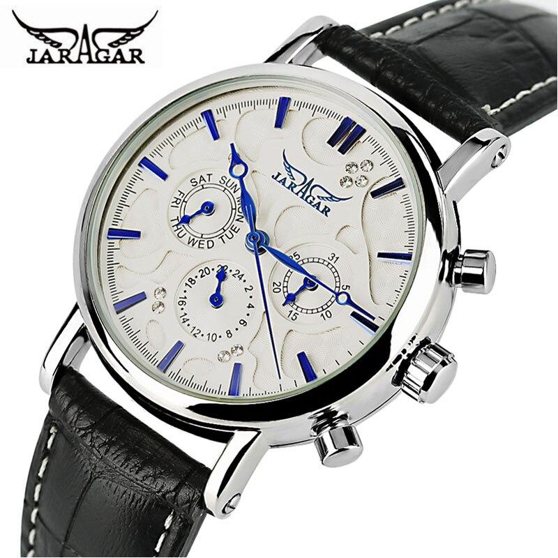 JARAGAR Automatische Mechanische Uhr Männer Echte Leder Band Tag Datum Frauen Uhren Moderne Analog Uhr 2017 Neue Kleid Beste Geschenke