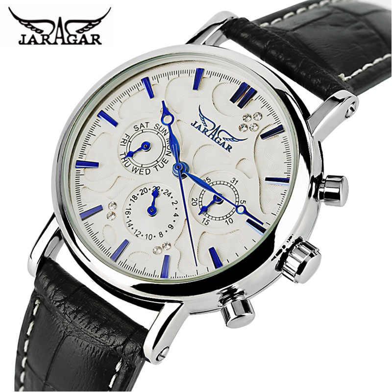 JARAGAR 自動機械式時計男性本革バンド日日付女性の腕時計現代アナログ時計 2020 New ドレスベストギフト