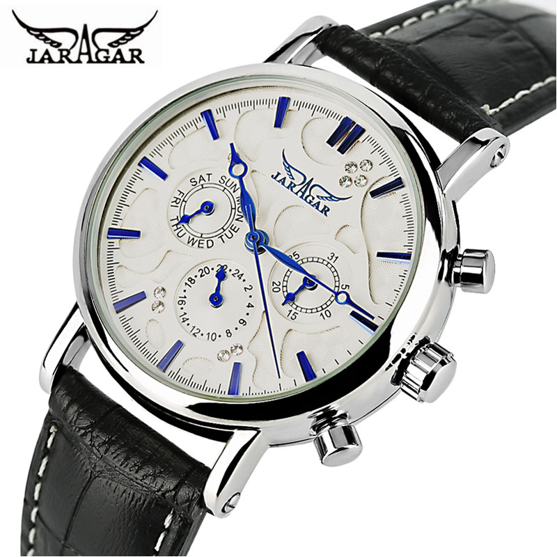 JARAGAR Automatic Mechanical Watch Men Genuine Leather Band Day Date Women Watches Modern Analog Clock 2017 New Dress Best Gifts forsining date display automatic mechanical watch men business leather band watches modern gift dress classic analog clock box