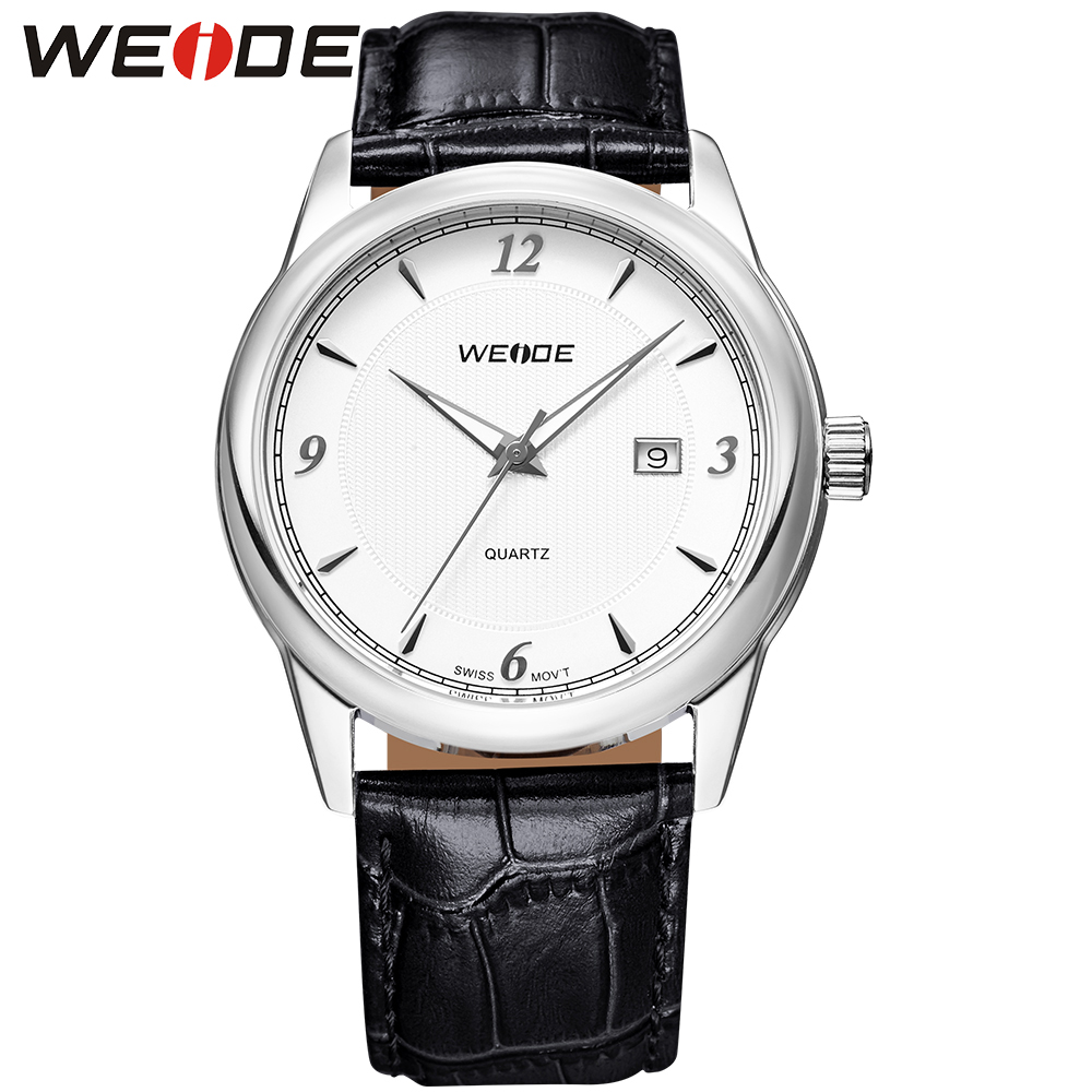 ФОТО WEIDE Popular Brand Analog Quartz Movement White Dial Watches Black Leather Strap Round Case Waterproof Relogio Masculino
