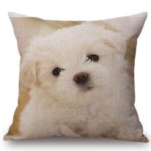 Милый домашний декоративный чехол для подушки Husky Puppy Dog Pom, наволочка из хлопка и льна, прямоугольная квадратная наволочка для детских собак