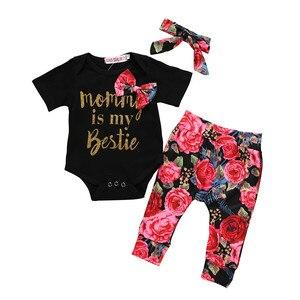 Jesień Baby Boy dziewczyny ubrania zestawy maluch noworodka stroje list Romper + spodnie z nadrukiem + zestaw do włosów zestaw babyborn roupa infantil