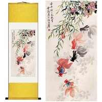 Chinese Silk Watercolor Ink Animal Success Wealth Rich Fish Carp Goldfish Canvas Wall Picture Feng Shui