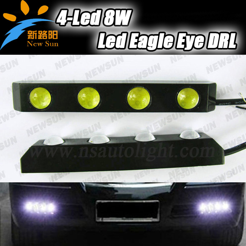 8W LED Car Eagle Eye White DRL Light Daytime Running Lamp Waterproof 12V High Brightness Free Shipping high power daytime running driving light eagle eye drl car lamps condenser lens for auto car white drl eagle eye 10w led lens