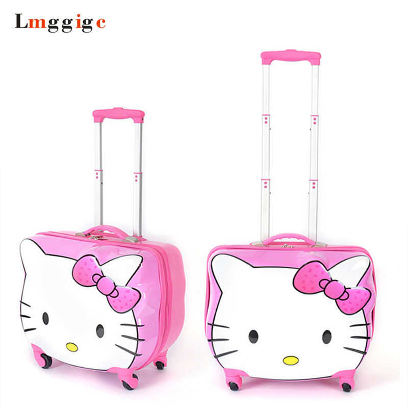 Kids Hello Kitty bag,Women Luggage,Children Suitcase,Cartoon Travel Box with Rolling ,ABS+PC Trolley Case  Universal Wheel