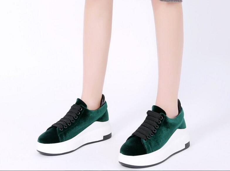 Colorful women shoes wedges platform heels lace-up Spring Summer green black army-green wine shoes casual suede sneakers army green vintage women