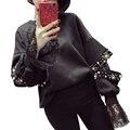 2016 Nuevos Zapatos Dividida Cuello Redondo Sudaderas Con Capucha Costura de Encaje de manga larga Camiseta Ocasional de Las Mujeres