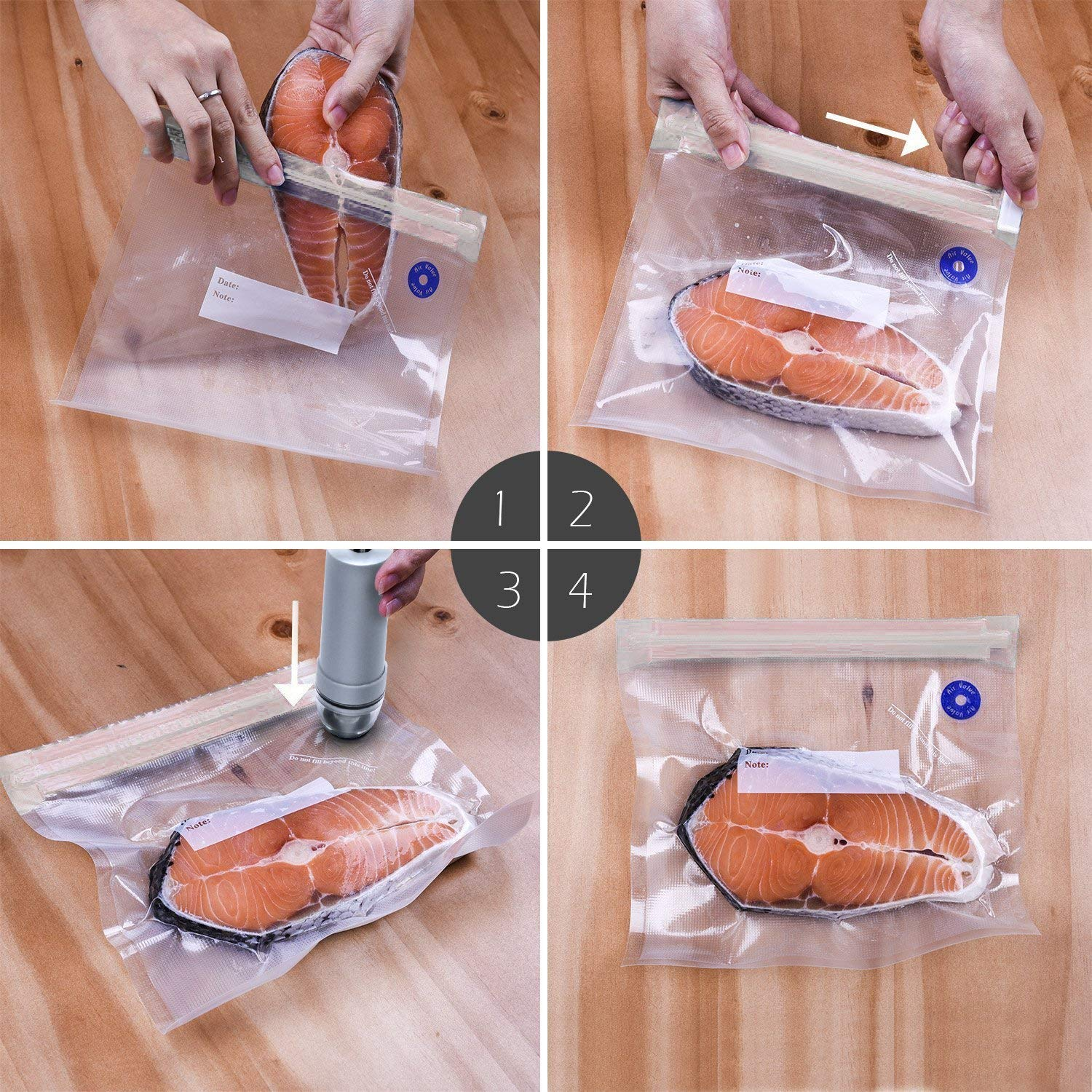 Image 2 - Manual Vacuum Sealer Bags Hand Pump Handheld For Food Storage With Pump Reusable Food Packages Kitchen Organizer Vacuum pump-in Saran Wrap & Plastic Bags from Home & Garden