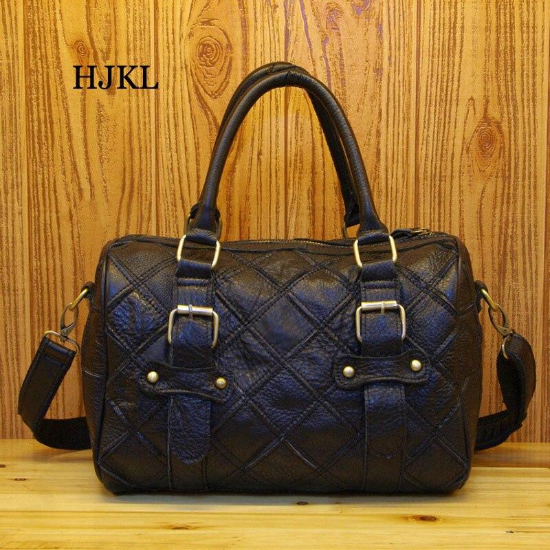 Frauen Messenger Black Koffer Bunte Persönlichkeit Farbe Kontrast Echtes Leder Tasche Plaid colorful Handtasche pZPxq5wH