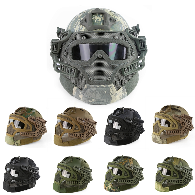 цены 14 Color Tactical Helmet New ABS Full Face Mask Mesh With Goggle For Military Airsoft Paintball Army Fast Helmet