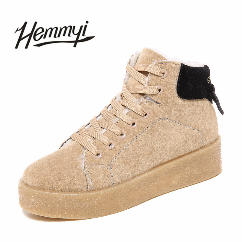 Hemmyi winter women boots ankle boots new fashion warm casual walking platform shoes female for ladies bota feminina botines pu leather martins women boots snow boots military girls for casual walking shoes winter femme bota 2017 7687