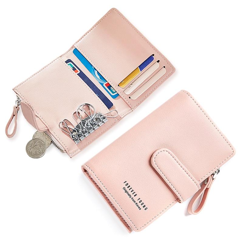 WEICHEN Card Key Holder En Cuir pour Femmes Portefeuilles Clés Gouvernante touches Femelle Hasp Porte Clé Chaîne Organzier Key Case Coin sac