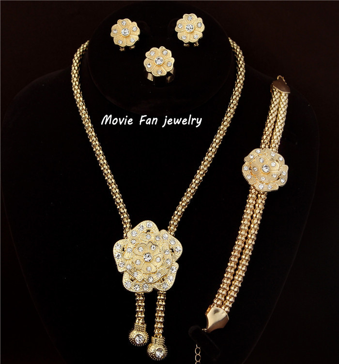 Fashion Dubai Jewelry Gold Color Plated Flower Necklace Set Wedding Bridal African Sjt009 In Sets From Accessories On