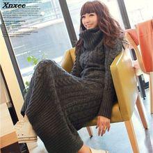 2018 Korean women dress slim long twist turtleneck sweater knitted winter thickening Xnxee