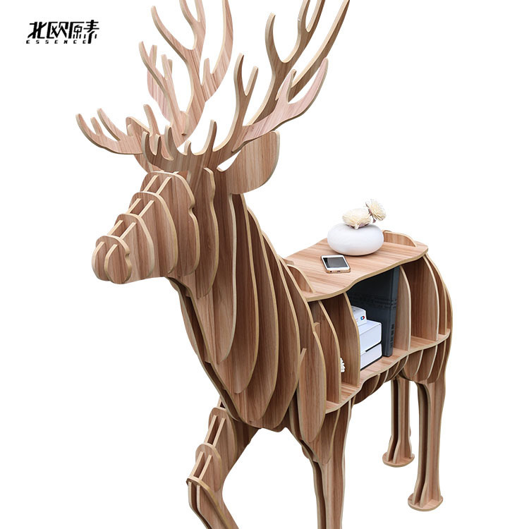 Scandinavian animal mascot shelf bookcase exclusive wooden ornaments home decorations,Nordic Europeanhotel restaurant home decor