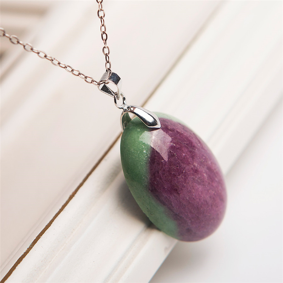 LiZiFang Precious Natural Ruby Zoisite Gemstone Necklace Crystal Woman Pendant 30x20x9mm