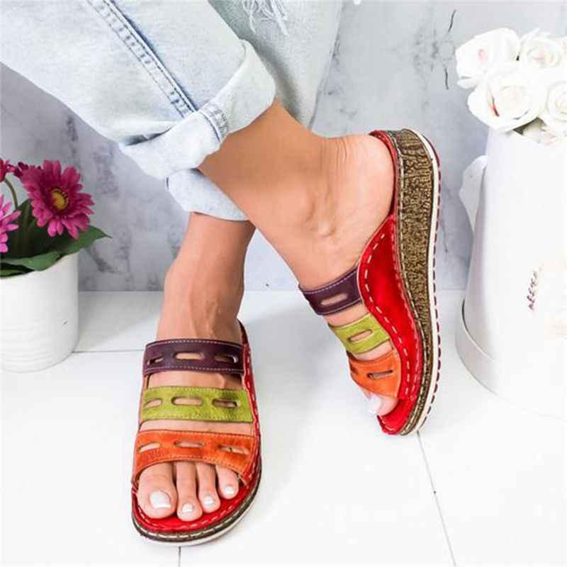 Oeak Drop shipping verano sandalias de Mujer Sandalias de costura señoras de Punta abierta Casual zapatos de plataforma de cuña de deslizamiento zapatos de mujer de playa