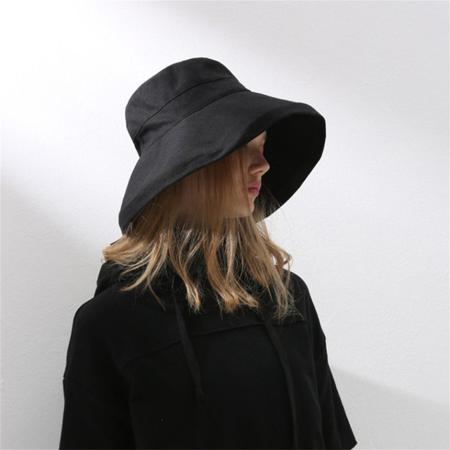 Plain deep Bucket Hat Women for Fishing Beach Cotton Summer Sun Hats for  Women Fashion Design Foldable Brimmed Big Bowknot caps 2940492480f6