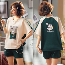 Women cotton pajamas casual cartoon pajamas round neck print T-shirt shorts 2 pcs loose plus size pijama mujer verano pajama set